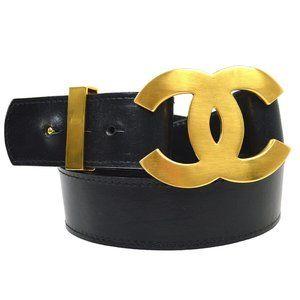 CHANEL CC Logos Charm Buckle Belt Black Gold Leath